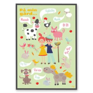 Børneplakat: Villum Vito's Lilleputterne På min gård - plakat med bondegårdens dyr til børn