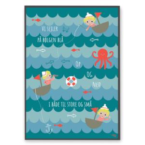 Børneplakat med de små sømænd og havets dyr fra Villum Vito