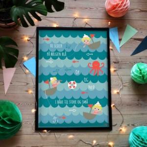 Plakat til børn med de små sømænd på det blå hav