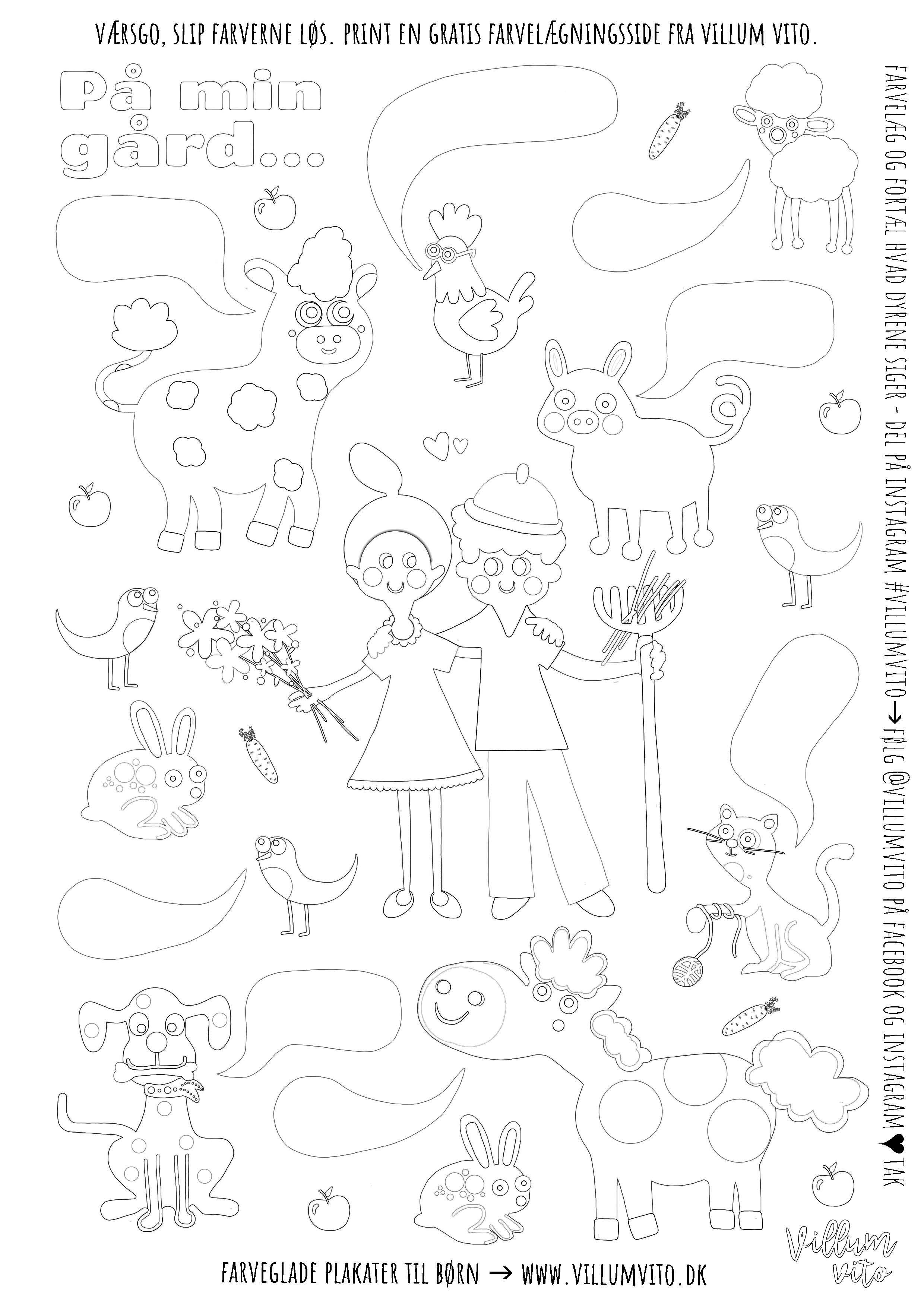 Farvelægningsside til børn fra Villum Vito. Print selv gratis malebogsside.